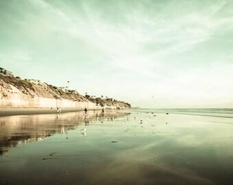 Landscape Beach Photography, Green Beach Photo, Pastel Green, Coastal Decor, Emerald Green, Shoreline, Beach Photo, Fine Art Print