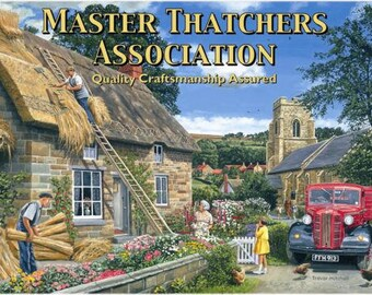 Thatched Cottage Building Old Vintage Classic Lorry Truck Small Metal/Tin Sign