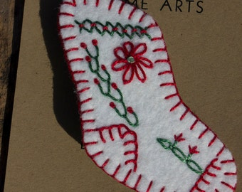 Christmas Series: Christmas Stocking - White wool with Embroidered Trimmings