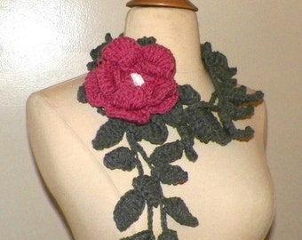 Scarf  Lariat Gray Crochet Pink Rose Flower Brooch Necklace With  Ivy Floral Accessory Freeform Spring Fashion Long Skinny