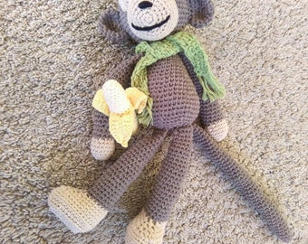 Monkey, crochet monkey, monkey toy, amigurumi monkey, monkey with banana, gift for kids, banana monkey