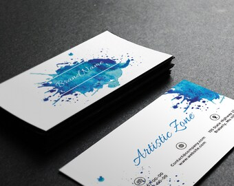 Light Blue Splash Watercolor Business Card Template