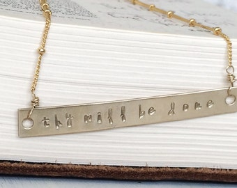 thy will be done - hand stamped gold bar plate necklace