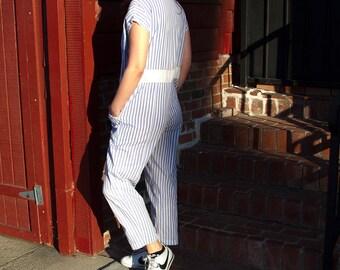 Vintage 1980's Nordstrom striped Jumper Romper Onesie Jumpsuit