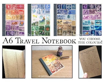 A6 Travel Journal | Upcycled Pocket Notebook w Index | Colourful Travel Gift for Writer, Postage Stamp Art | Lined, Dot Grid, Squared, Plain