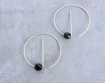 Threader hoops, hoops with beads, geometric threader, thin hoops, gold fill, open hoops, minimalist, geometric, unique hoops, , gift for her