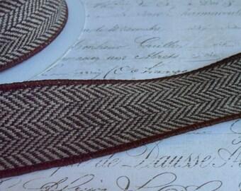 Chocolate Brown and White Herringbone Tweed Ribbon Trim. Approx 1 1/2 inch wide