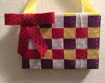 Maroon, purple, yellow, and white; 3x4; original mixed media, ribbon on canvas