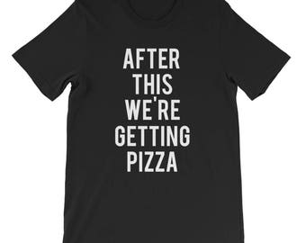 "RESERVED: 10 T-shirts ""After This We're Getting Pizza"" Black Shirt - Bridal Party Getting Ready Outfit - Bride robe"