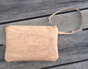 Cork Wristlet Clutch / Clutch Purse / Zipper Clutch / Cork Top Zip Clutch / Vegan Clutch / Vegan Zip Clutch / Cork Zip Top Bag