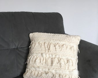 Handwoven Decorative Pillow, White