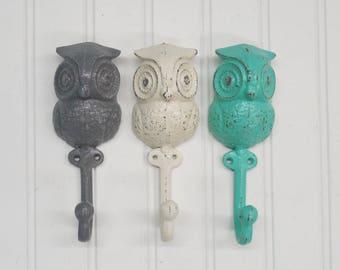Owl Hook-24 Colors/Shabby Chic/Nursery/The Shabby Store/Animal Hook/Kids Room/Owl Decor/Wall Hook/Towel Hook/Harry Potter/Towel Hook
