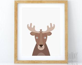 Moose Head Print, Woodlands Decor, Nursery Printable, Animal Wall Art, Boys Room Poster, Digital Download, Modern Kids Room, Cartoon Animal