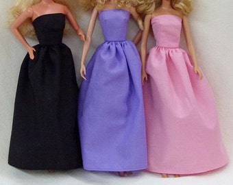 """Fashion Doll Halloween birthday party long dresses black purple pink - for you to decorate these fit 11.5"""" dolls"""