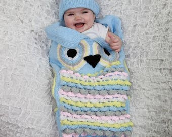 KNITTING PATTERN For Owl Baby Cocoon, Papoose & Hat in 4 Sizes U.K, U.S.A, PDF 370 Digital Download