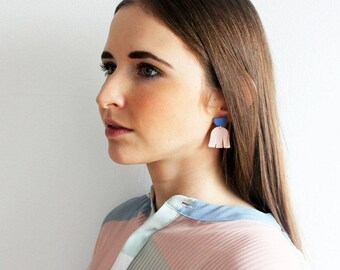 Pink and cobalt blue matted porcelain dangle earrings