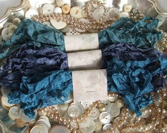 Crinkled Seam Binding Ribbon - 18 yards - Midnight Bundle - Rustic, Shabby Chic, Beach, Cottage, French Country, Wedding