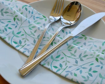 Mint green floral cloth napkin set of four