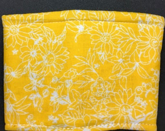 Reusable Fabric Coffee Sleeve / Reusable Coffee Cozy / Cup Sleeve / Eco Friendly Coffee Sleeve / Yellow Floral Print