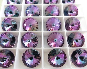 2 Violet Vitrail Light Swarovski  Rivoli Stone 1122 14mm