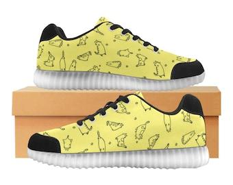 Catty citron | LED Light Up chaussures | Enfants garçons filles unisexe tailles | Tige extensible haute | Semelle intérieure en tissu | Recharger | Choisissez noir ou blanc garniture
