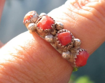 Coral and Sterling Silver Ring Size 5.75