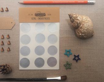 Kreis Aufkleber Umschlag Dichtungen - Silber Hologramm mit Bogenkante