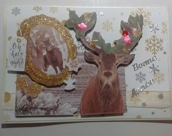 Card good year decorated woodland deer, 3D