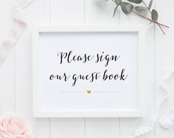 Guest Book Printable Wedding Signs Wedding Reception Sign - Modern Calligraphy GuestBook Reception Printable Signage PDF (Item code: P430)