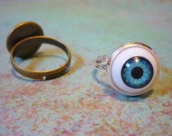 Blue Doll Eye Ring, Eye adjustable ring, bjd eye, bjd jewelry, Bizzare ring, creepy ring, punk ring, punk jewelry, creepy jewelry, zombie