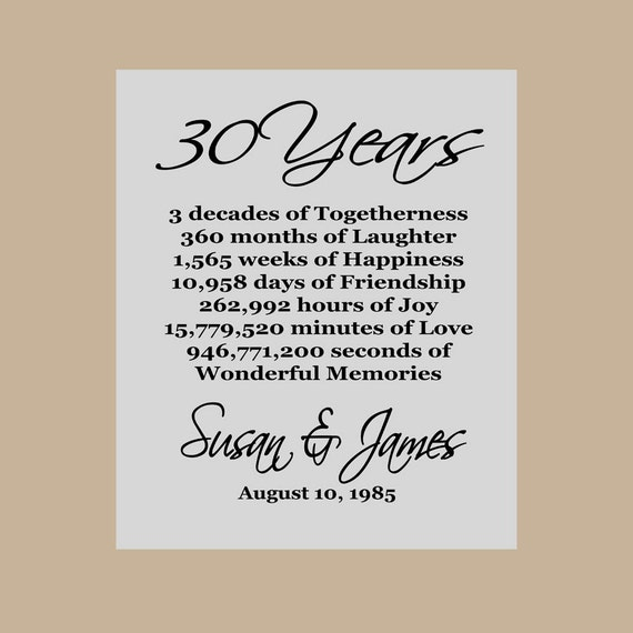 Funny 30th Anniversary Quotes: 30th Anniversary Gift Pearl Anniversary Personalized 30th