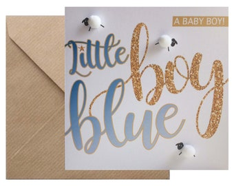 New baby boy 'Little boy blue...' baby birth congratulations card, hand finished with pompom 'sheep'