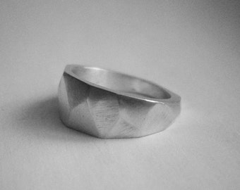 sterling silver faceted ring