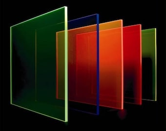 Fluorescent Perspex Sheet 3mm x 297mm x 210mm (A4) Bulk Pack 5 Sheets 5 Colours