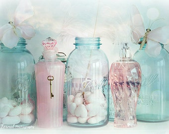 Shabby Chic Decor Bottles Print, Pink Aqua Mason Jars Print, Bathroom  Decor, Shabby