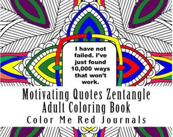 Motivating Quotes Mandala Squares Zentangle Coloring Book Journal 48 Pages Each With A Inspiring