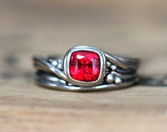 Red ruby engagement ring set, bohemian engagement ring set, Chatham ruby ring, cushion engagement ring, square ruby ring, custom Pirouette
