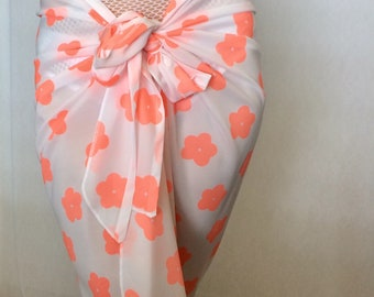 Versatile peach/off white sarong, pareo, swimsuit cover.