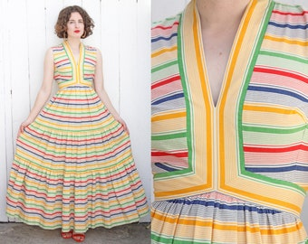 Vintage 70s Dress | 70s Victor Costa Striped Cotton Tiered Maxi Sleeveless Dress White Red Green Blue Yellow | XS