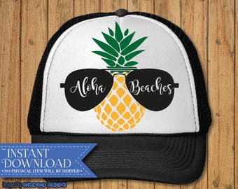 Aloha Beaches svg - Summer svg - Summer time dxf - Beach svg - Digital Download - Hat svg Design - Vacation svg - Pineapple dxf - Sunglasses