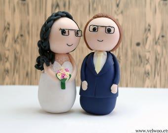 Glasses cake topper, cake topper figurine, geek cake topper, geek wedding, glasses groom and  bride,  wedding cake topper, Tortenaufsätzen