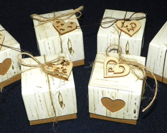 12 Rustic Birch Boxes with 12 Wood Laser Cutout Hearts and Ties, Rustic Favor Boxes for Bridal Showers or Wedding Thank You's