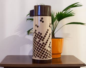 Vintage Thermos made in England 60s 70s with brown dots
