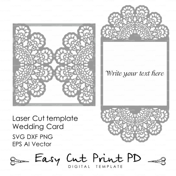 Wedding invitation Lace crochet doily Pattern Card Template