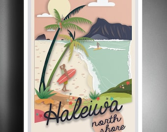 North Shore Hawaii Illustration Poster