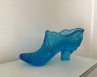 Vintage Blue Glass High Heel Shoe Collectible