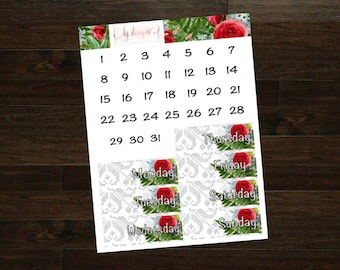 Winter Blooms Collection Date Covers || 130+ Planner Stickers