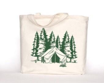Organic Cotton Bag | Forest Screenprint | Gusset Tote | Reusable Lunch Tote | Bulk Bin Bag | Large Lunch Bag | Bulk Bin Bags | Zero Waste