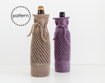Wine Bottle Gift Bag Knitting Pattern Instant Download PDF Pattern, Unique Hostess Gifts, Unique Housewarming Gifts, Knit Wine Tote Pattern