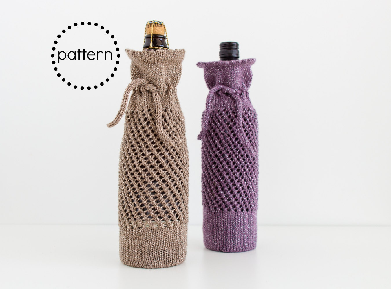 Wine Bottle Gift Bag Knitting Pattern Instant Download PDF Pattern ...
